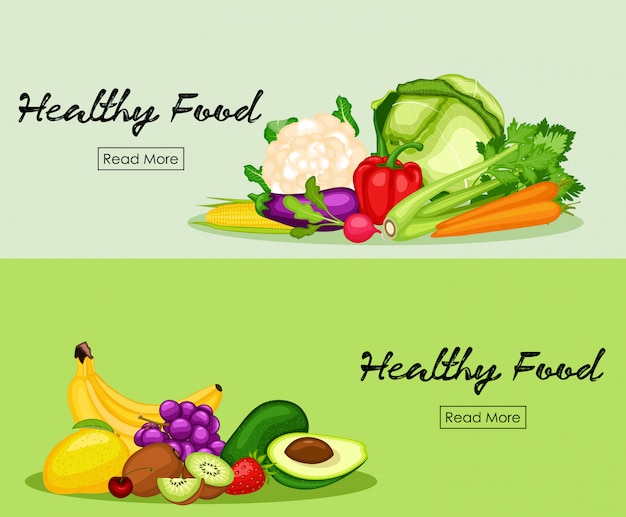 Healthy food banner set with flat design of vegetables