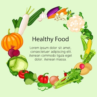 Healthy food banner set with flat design of vegetables