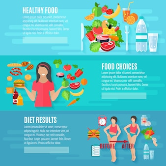 Healthy food banner set