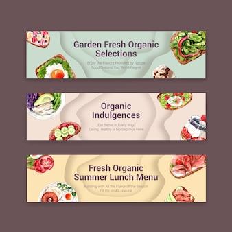 Здоровая еда баннер дизайн шаблона для ваучера, реклама акварель