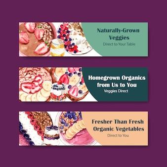 伝票、水彩画の健康食品バナーテンプレートデザイン