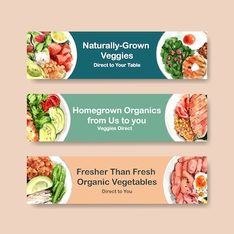 Healthy food banner template design for voucher, advertisement watercolor