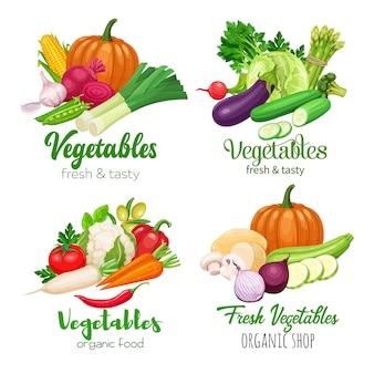 Баннеры здорового питания с овощами. капуста, перец, свекла или морковь. лук, цуккини, баклажаны и спаржа. кукуруза, сельдерей и грибы.