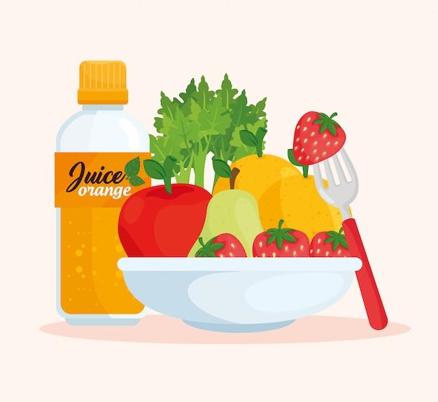 Здоровое питание, миска с фруктами и бутылочный сок