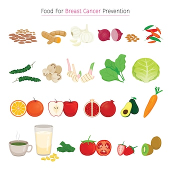 Healthy food for breast cancer prevention set