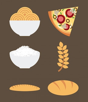 Healthy food over brown background vector illustration