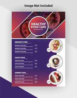 Healthy food cafe flyer template.