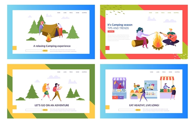Healthy food and camping people website landing page templates set.