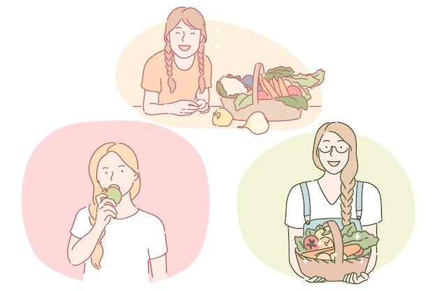 건강에 좋은 음식, 깨끗한 식사, 채식 개념. 신선한 먹는 젊은 긍정적 인 여성 만화 캐릭터