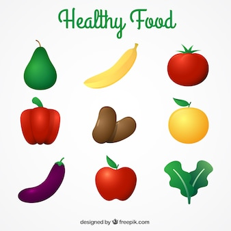 Healthy food collection in realistic style