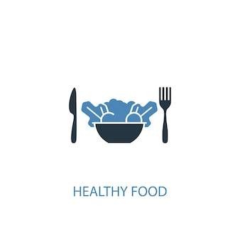 Healthy food concept 2 colored icon. simple blue element illustration. healthy food concept symbol design. can be used for web and mobile ui/ux