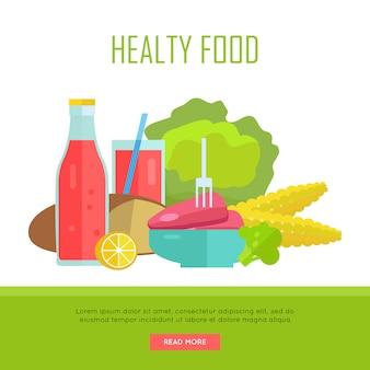 Healthy food concept web banner illustration.