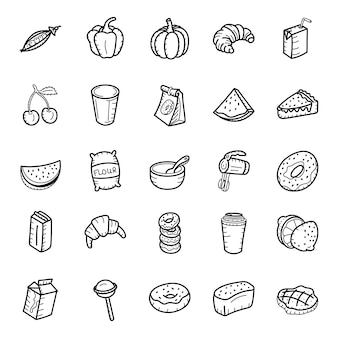 Healthy food and desserts hand drawn icons pack