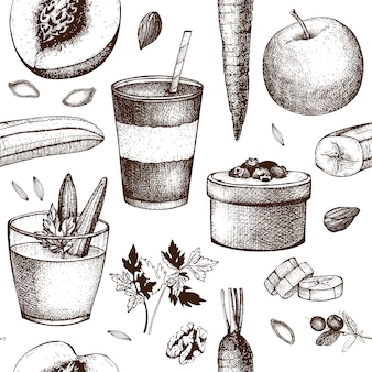 Healthy food and drinks seamless pattern. summer recipes ingredients background.