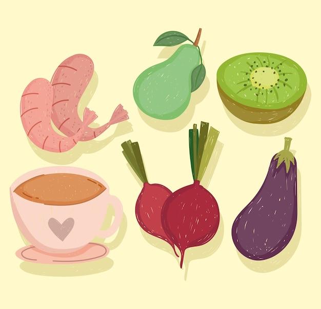 Здоровая пища баклажаны, свекла, киви, груша и иллюстрация чашки кофе