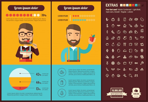Healthy food flat design infographic template and icons set