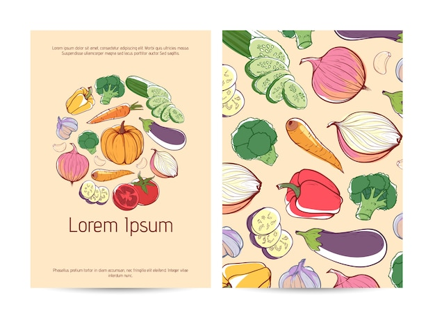 Healthy food flyer template with fresh vegetables