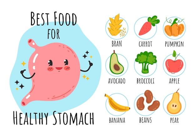 Здоровая пища для счастливого желудка изолированный элемент дизайна инфографики