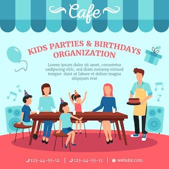 특별한 대접을 가진 아이들 생일 파티를위한 건강식