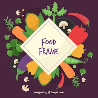 Healthy food frame background