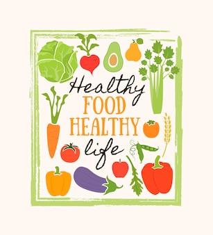 Healthy food frame of fresh vegetable