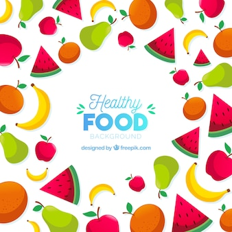 Healthy food frame with flat design