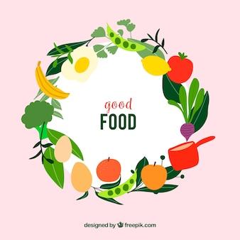 평면 디자인의 건강 식품 프레임
