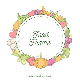 Healthy food frame with hand drawn style