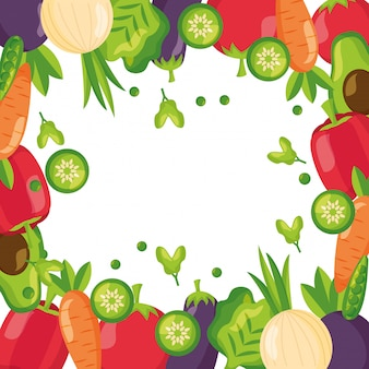 Healthy food fresh frame background