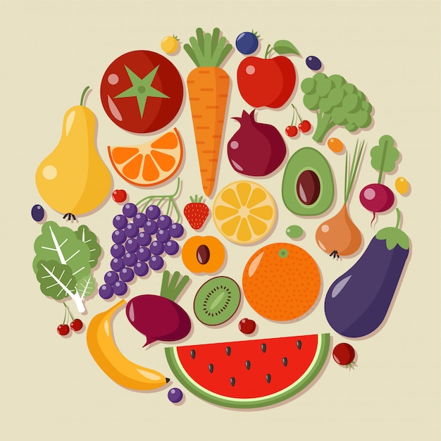 Healthy food fruits vegetables flat style vector