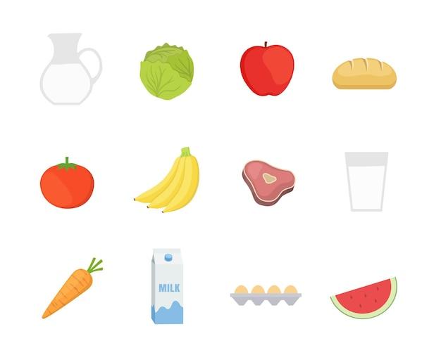 평면 스타일 디자인에 건강 식품 아이콘