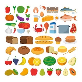 Healthy food icons cartoons