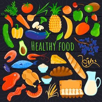 健康食品のアイコン、新鮮なオーガニック製品、漫画の果物や野菜、イラスト