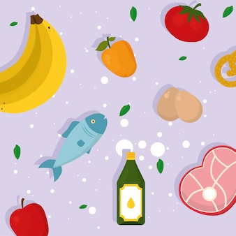 Healthy food icons on purple background