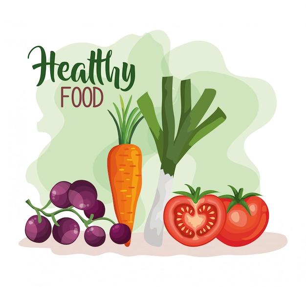 トマトと野菜の健康食品イラスト