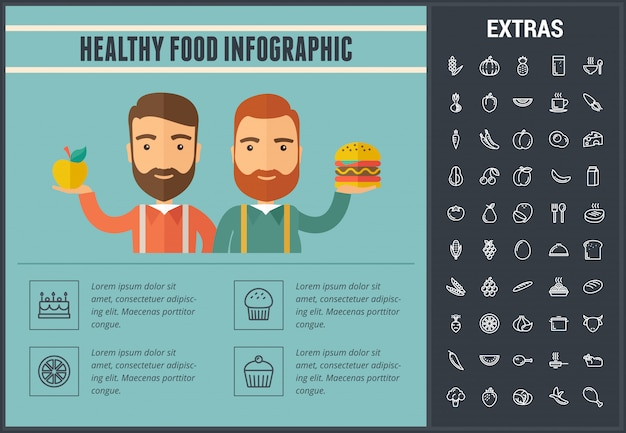 Healthy food infographic template, elements, icons
