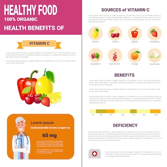 Healthy food infographics products with vitamins, health nutrition lifestyle concept