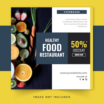Healthy food instagram post template or square flyer