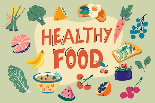 Healthy food items set. hand draw everyday food products. vegetables and fruits. world food day. collection of organic vitamins and healthy nutrition. colorful vector items for eating.