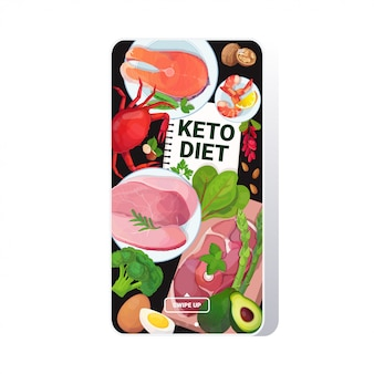 Healthy food keto diet concept selection of good fat sources low carbs products composition on wooden background smartphone screen mobile app
