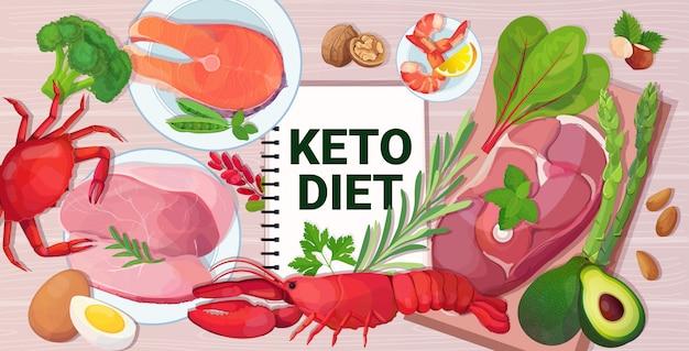 健康的な食品ケトダイエットコンセプトの選択木製の背景の水平に良い脂肪源低炭水化物製品組成の選択
