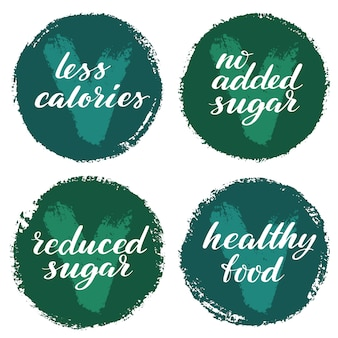 Healthy food label set. product labels or stickers.