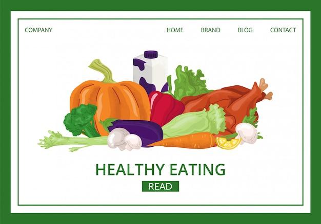 건강 식품 방문 그림입니다. 유기농 먹는 웹 사이트 페이지. 채식주의자를위한 신선한 야채 및 과일 제품. 생태 생활을위한 다이어트 성분. 자연 메뉴 개념.