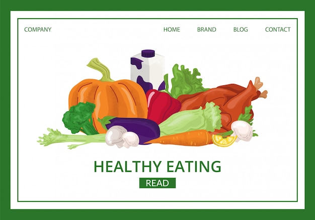 Healthy food landing  illustration. organic eating website page. fresh vegetables and fruits products for vegetarians. diet ingredients for ecological lifestyle. natural menu concept.