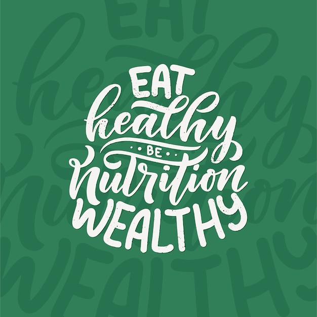 건강한 음식 글자. 유기농 영양 에코 제품.