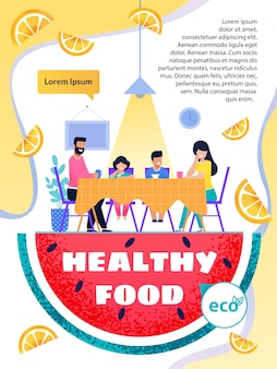 Healthy food and lifestyle promotion text brochure