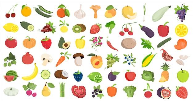 Здоровая еда любит. фрукты и овощи на белом.
