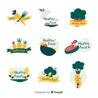 Healthy food logo collection
