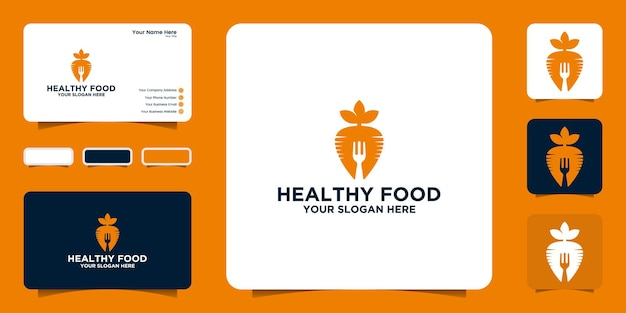 당근과 포크 디자인 영감과 명함을 사용한 건강 식품 로고 디자인 영감