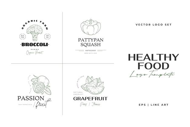 Шаблон логотипа здорового питания рисованной иллюстрации для ресторана